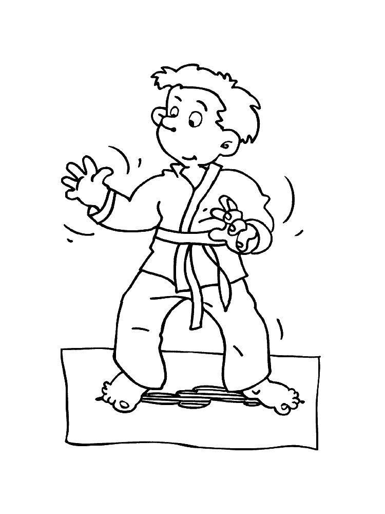 Раскраска Каратист Скачать карате.  Распечатать ,спорт,