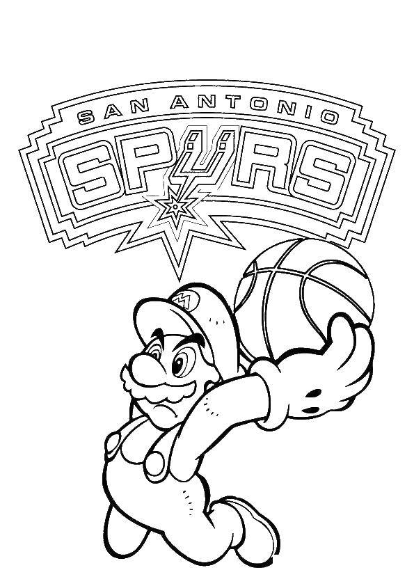 Раскраска Супер марио баскетболист Скачать Супер Марио, мяч.  Распечатать ,баскетбол,