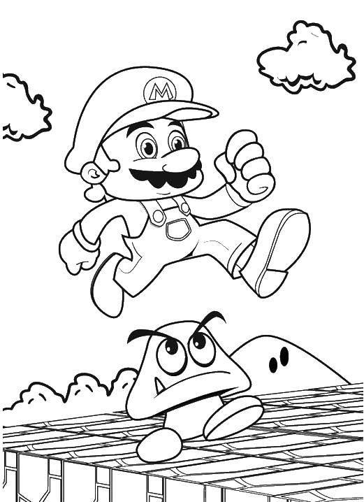 Раскраска Супер марио прыгавет через гриб Скачать Супер Марио, мяч.  Распечатать ,Персонаж из игры,