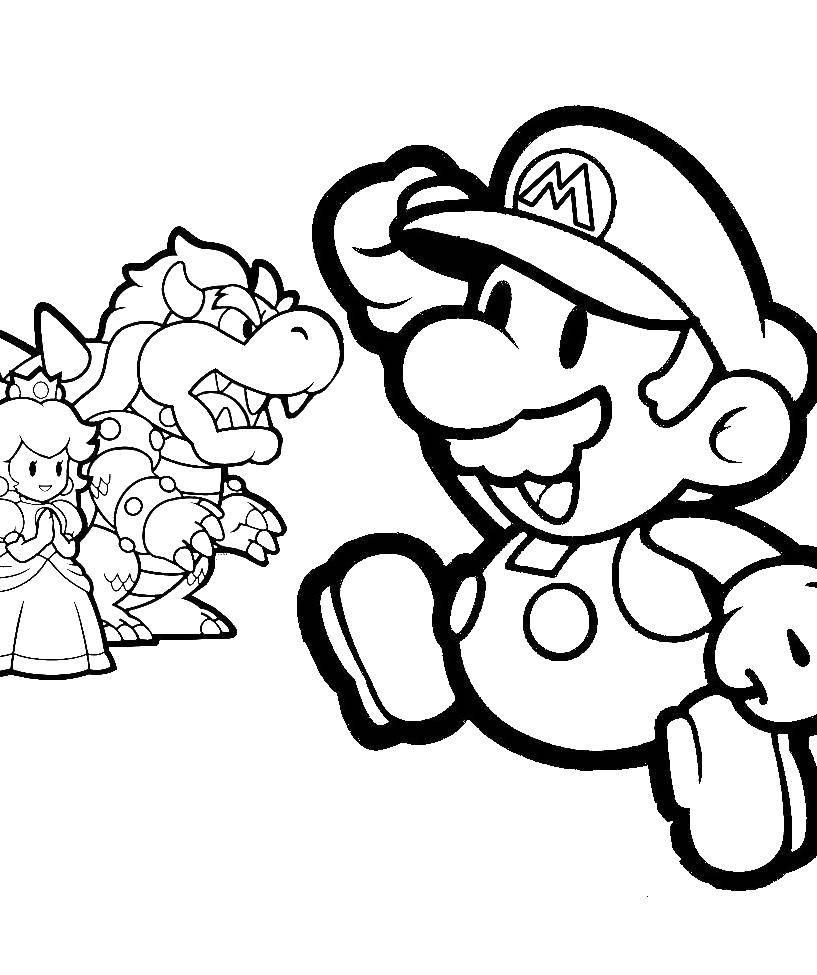 Раскраска Супер марио спасает принцессу Скачать Супер Марио.  Распечатать ,Персонаж из игры,
