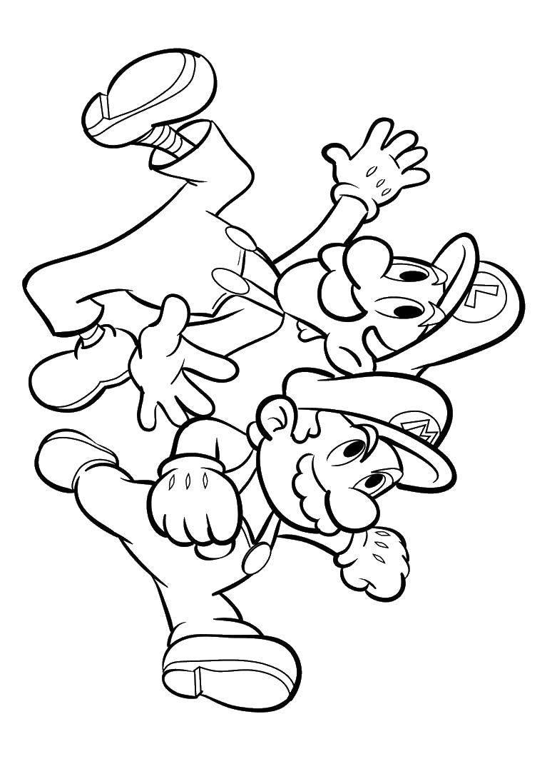 Раскраска Супер марио Скачать Супер Марио, мяч.  Распечатать ,мультики,