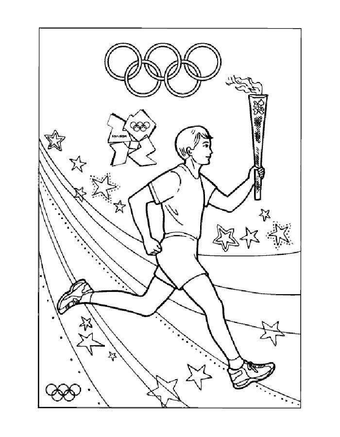 Раскраска Олимпийский огонь Скачать огонь, бег.  Распечатать ,спорт,