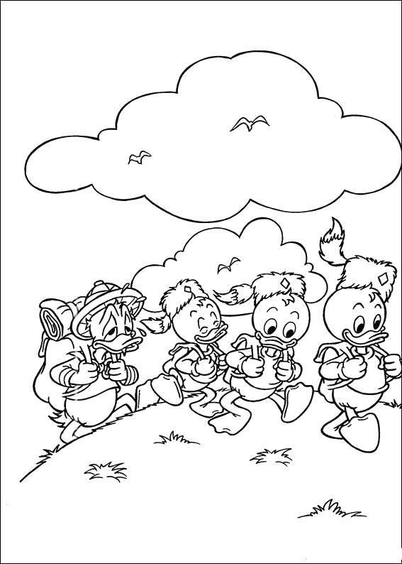 Раскраска Дональд дак с племянниками идут в поход Скачать Дисней, Утиные Истории, Дональд Дак.  Распечатать ,утиные истории,