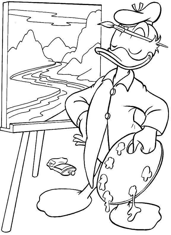 Раскраска Дональд рисует Скачать Дисней, Утиные Истории, Дональд Дак.  Распечатать ,утиные истории,