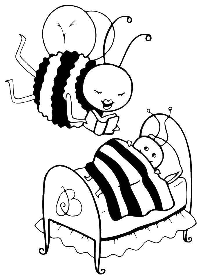 Раскраска Мама пчёлка читает сказку на ночь Скачать ,Насекомые, пчёлка,.  Распечатать