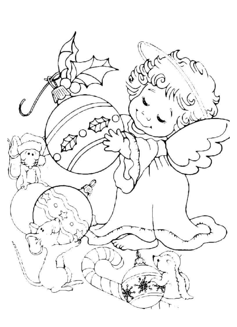 Раскраска Ангел с новогодними игрушками. Скачать ангел, игрушки.  Распечатать ,ангелы,