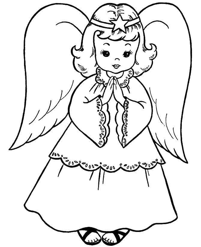 Раскраска ангел хранитель Скачать ,ангел,.  Распечатать