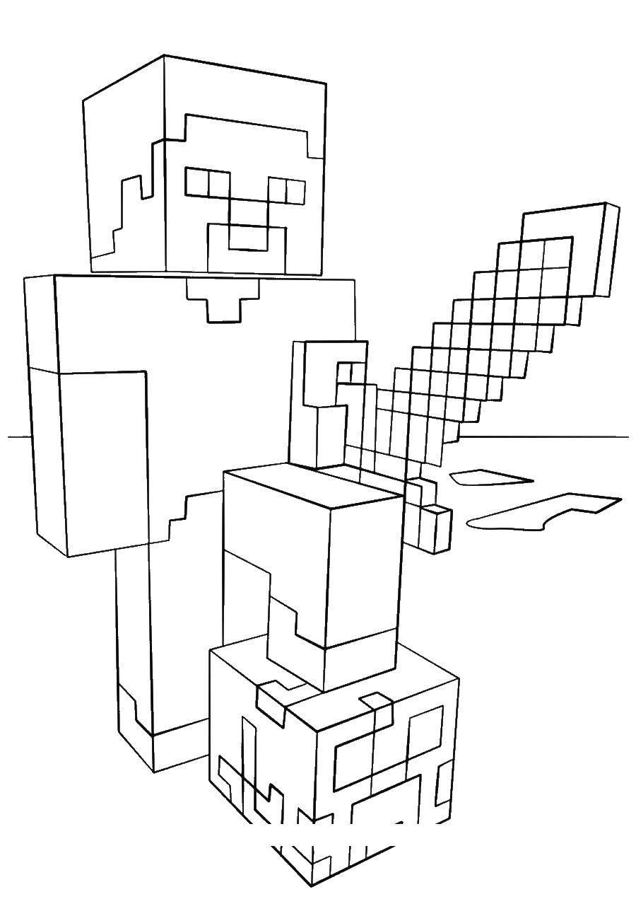 Раскраска Человек с мечем. Скачать майнкрафт.  Распечатать ,майнкрафт,