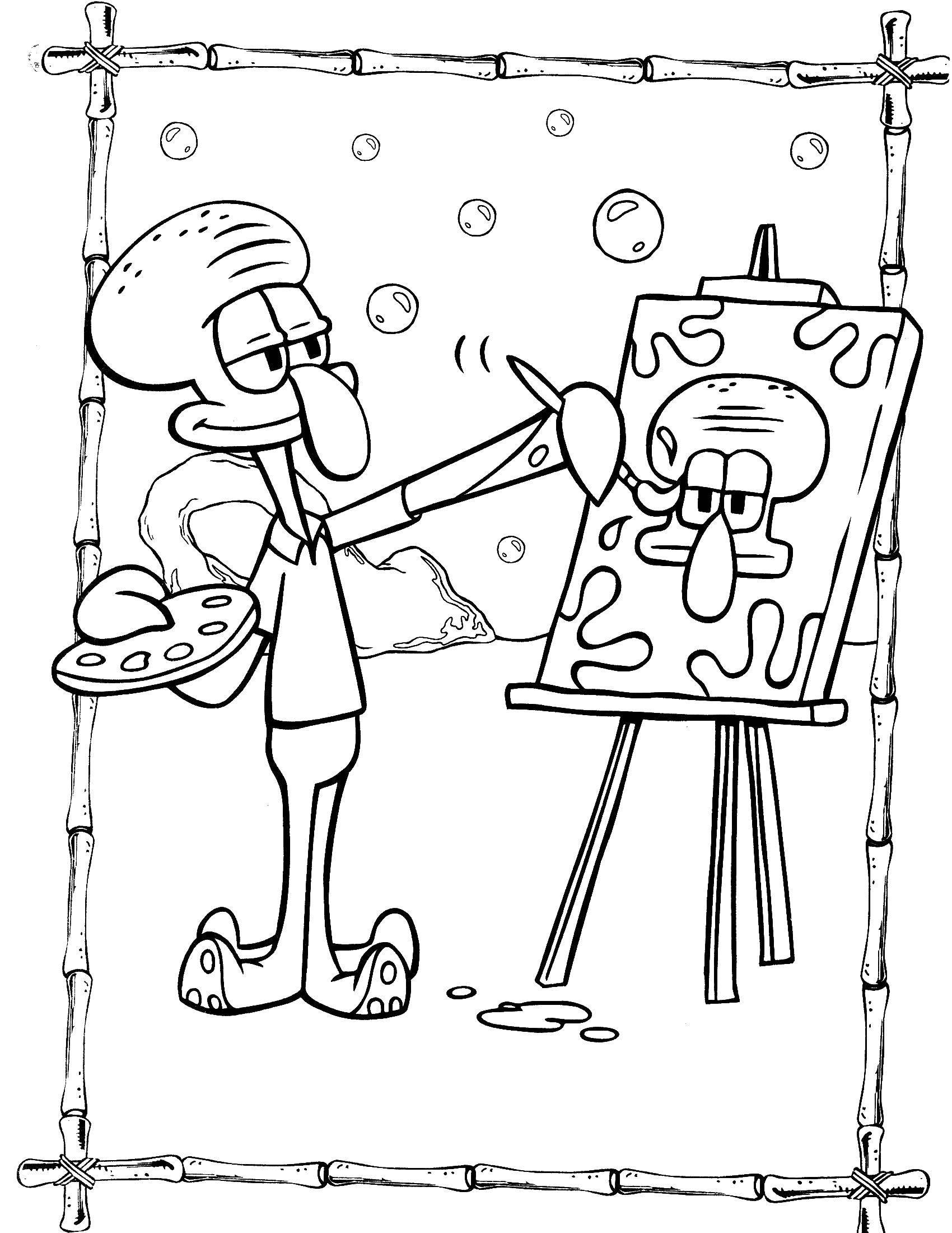 Раскраска Сквидвард рисует портрет Скачать спанчбоб, патрик.  Распечатать ,Спанч Боб,