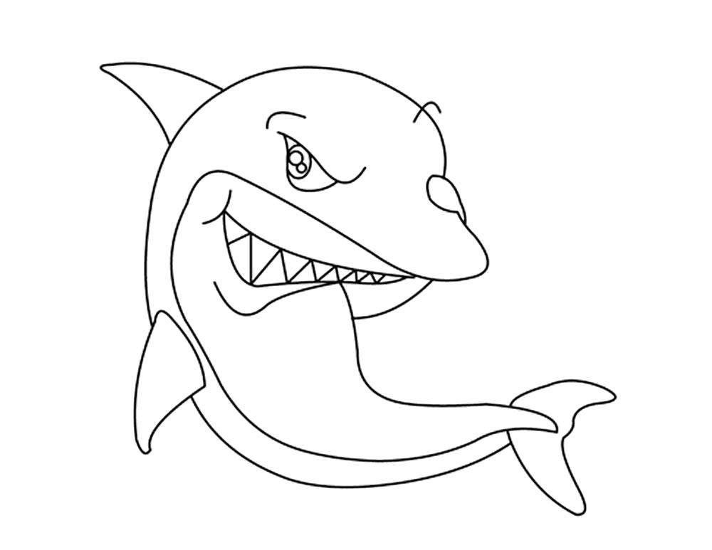 раскраски акула раскраска хитрая акула морское