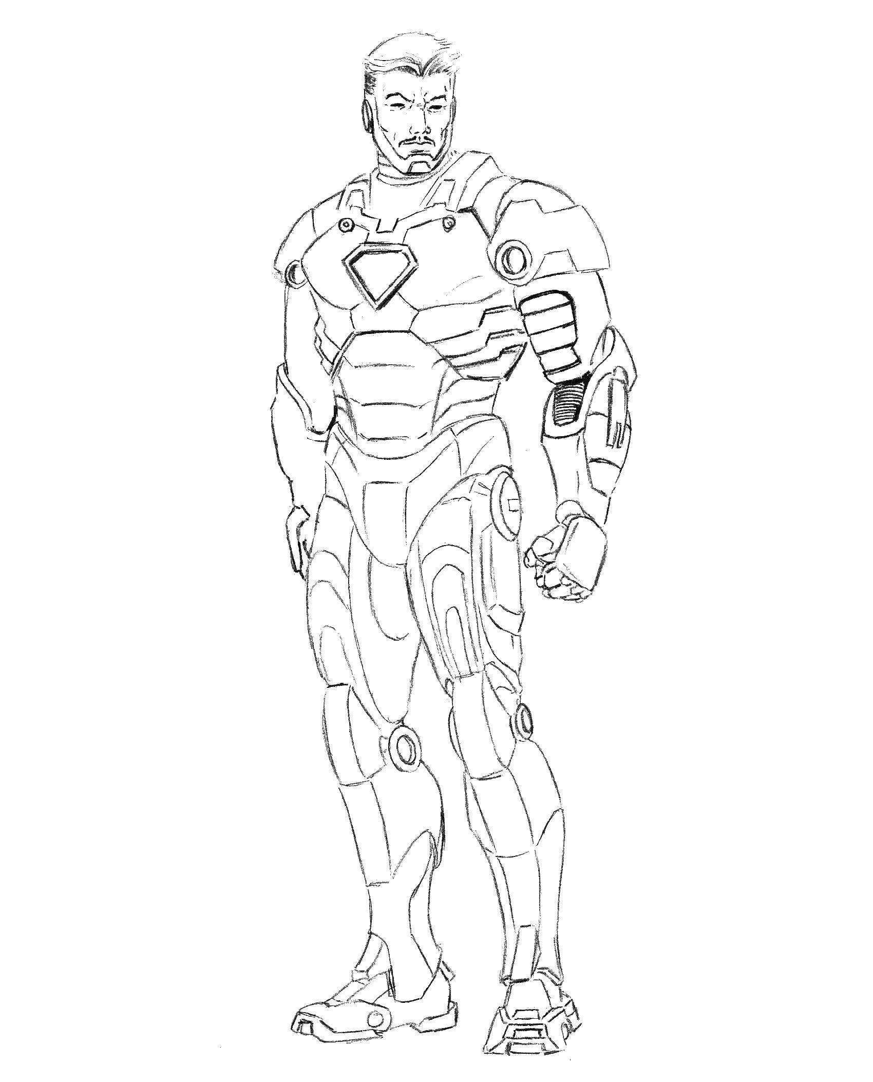 Раскраска железный человек Скачать робот.  Распечатать ,робот,