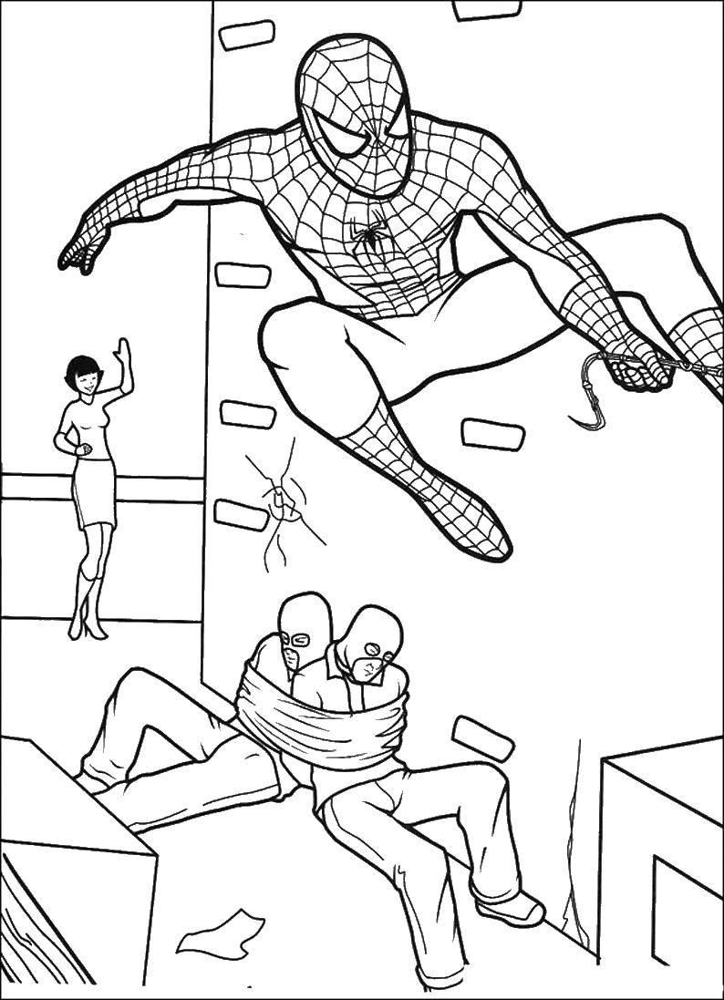 Раскраска человек паук Скачать персонажи.  Распечатать ,раскраски антистресс,