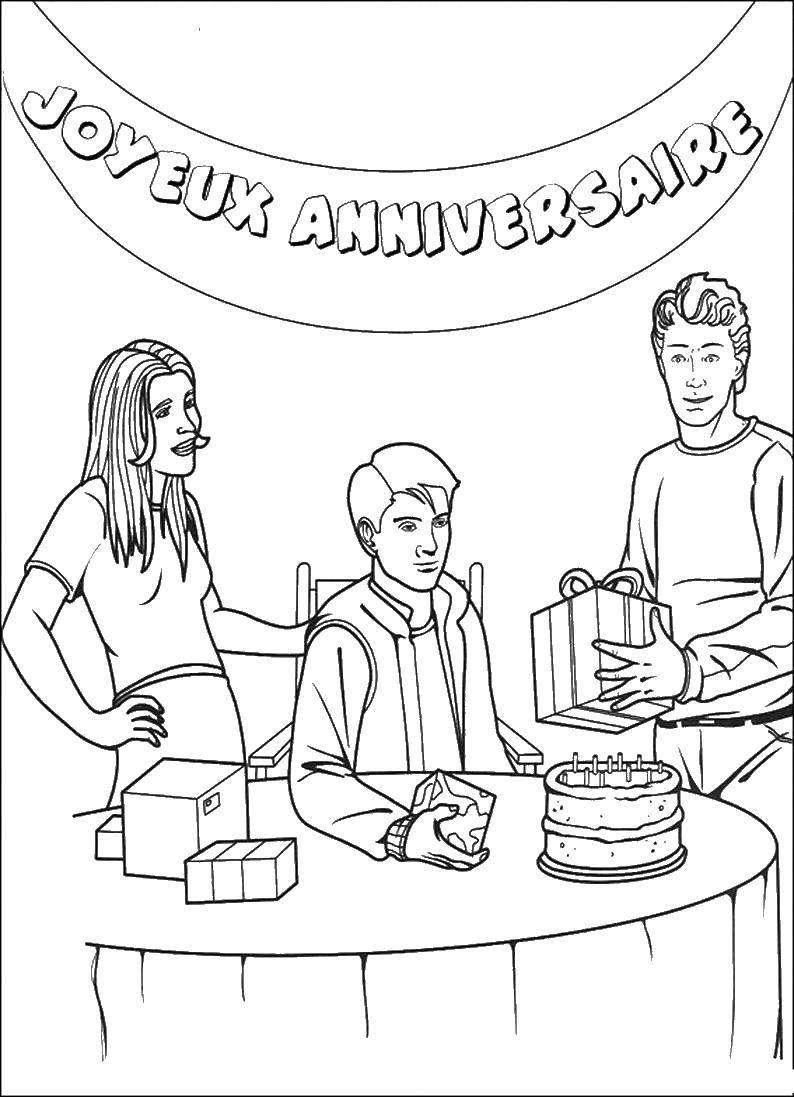 Раскраска Питер паркер празднeт день рождение Скачать человек паук, супергерои.  Распечатать ,человек паук,