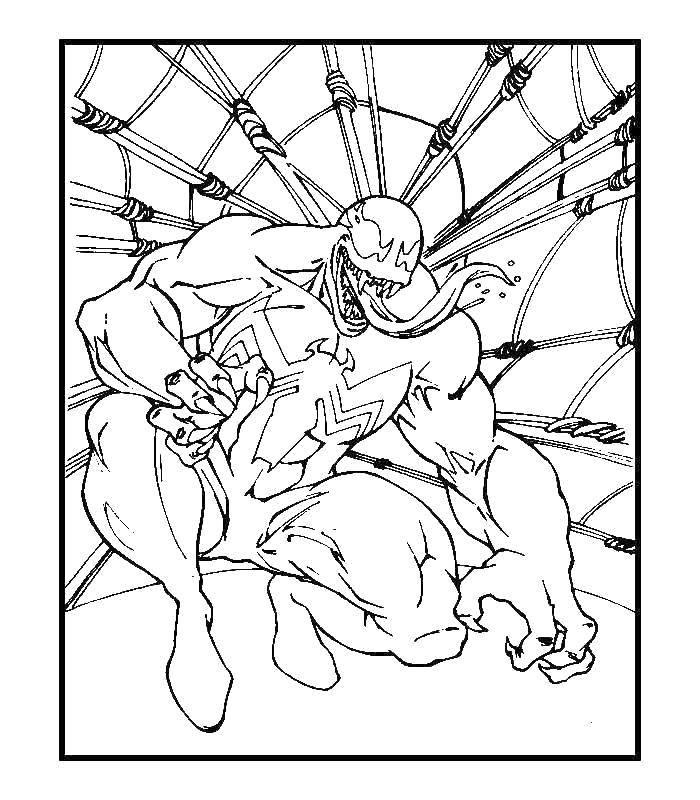 Раскраска Веном Скачать Комиксы, Спайдермэн, Человек Паук.  Распечатать ,человек паук,