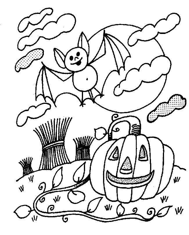 Раскраска Тыква и летучая мышь Скачать Хэллоуин, летучая мышь, тыква.  Распечатать ,тыква на хэллоуин,
