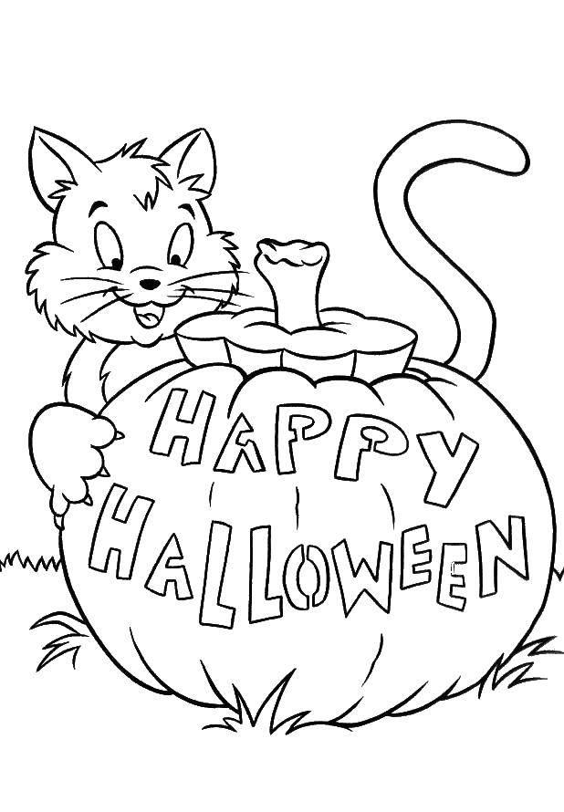 Раскраска тыква на хэллоуин Скачать .  Распечатать