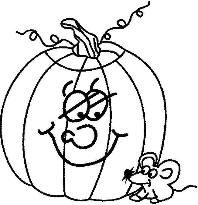 Раскраска тыква на хэллоуин Скачать ,части тела, уши,.  Распечатать