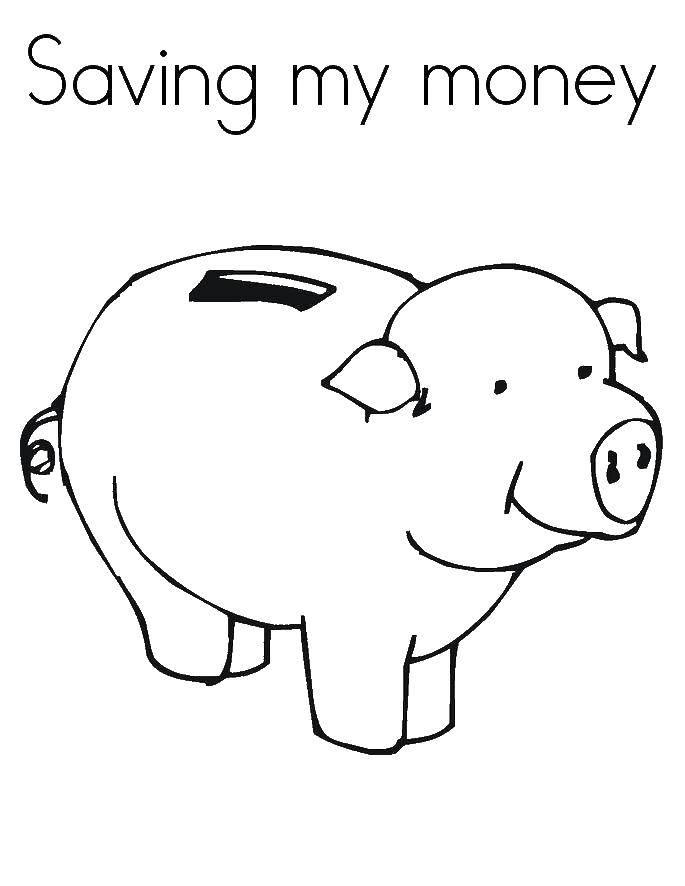 Раскраска Копилка Скачать Деньги.  Распечатать ,Деньги,
