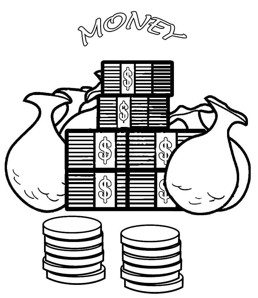 Раскраска Мешки денег Скачать Деньги.  Распечатать ,Деньги,