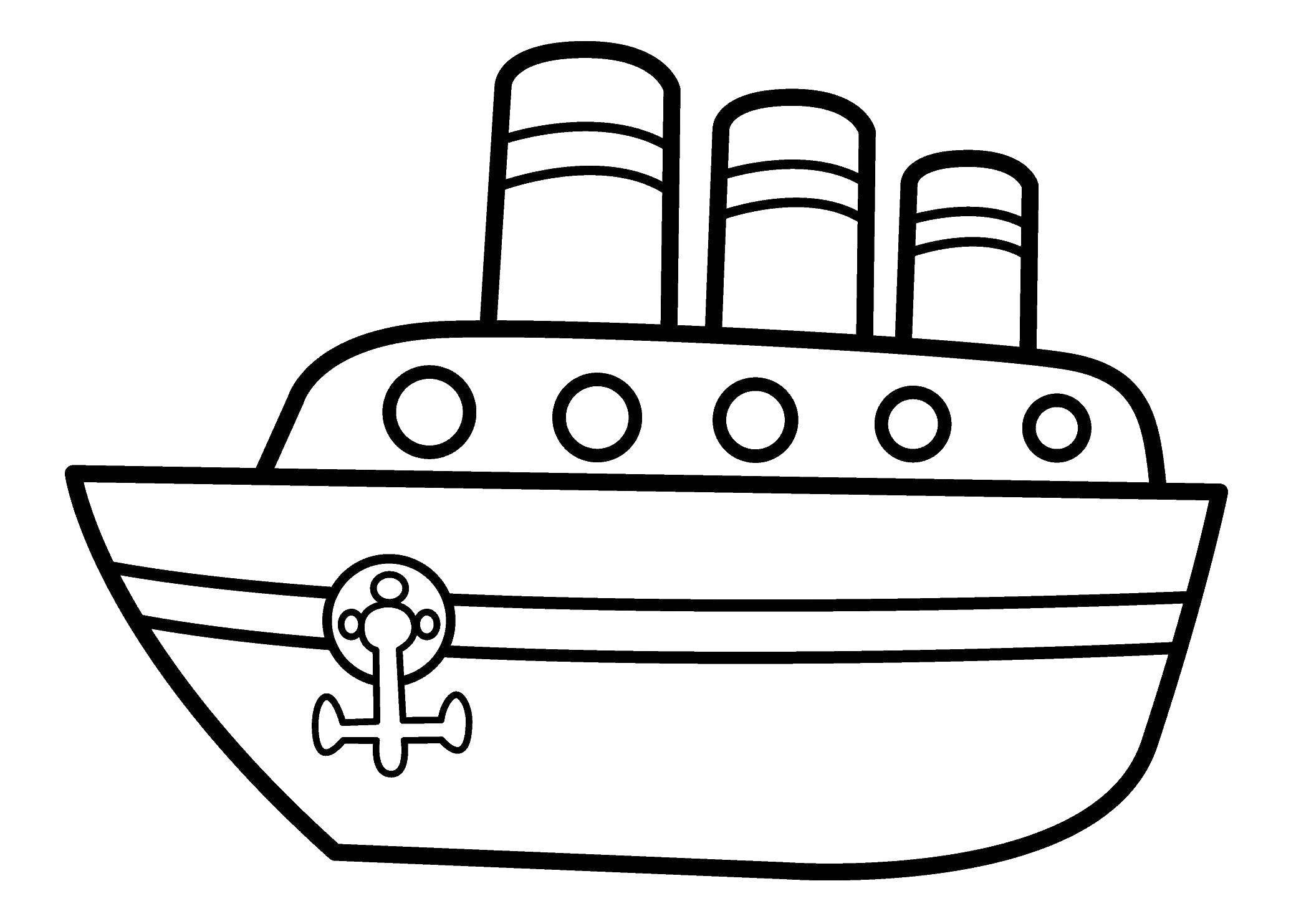 Раскраска Кораблик на воде Скачать Транспорт.  Распечатать ,Транспорт на английском,