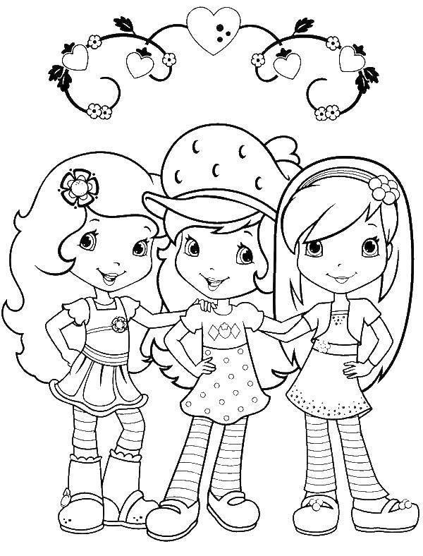 Раскраска Шарлотта клубничка с подругами Скачать Шарлотта, мультик.  Распечатать ,мультик,