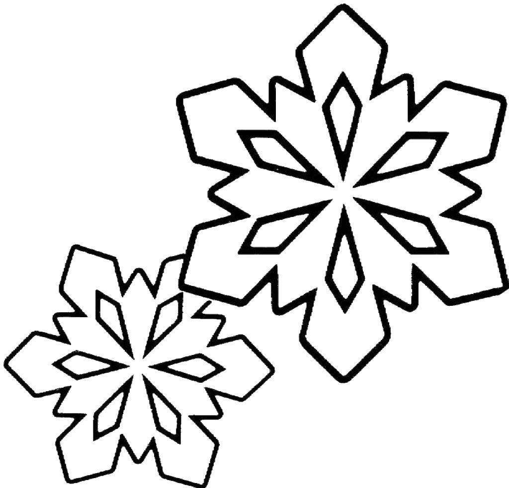 Раскраска Снежинка Скачать снег.  Распечатать ,фигуры,
