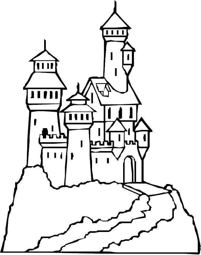 Раскраска Замок на горе Скачать Замок.  Распечатать ,Замки,