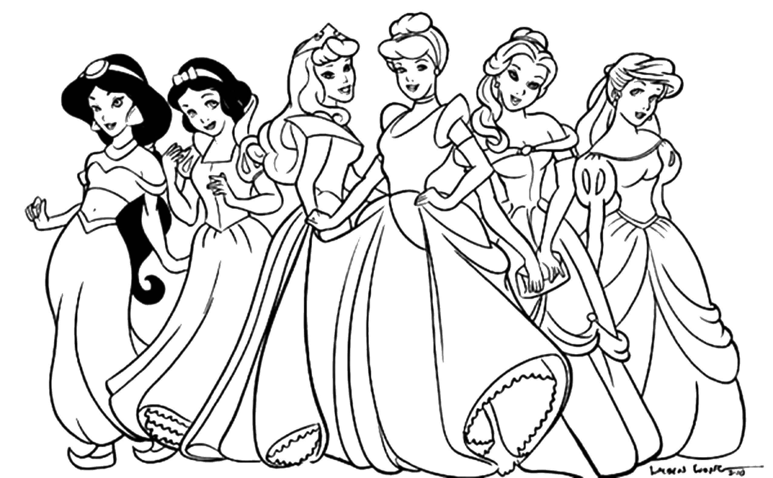 Раскраска Диснеевские принцессы Скачать Дисней, принцесса.  Распечатать ,Диснеевские раскраски,