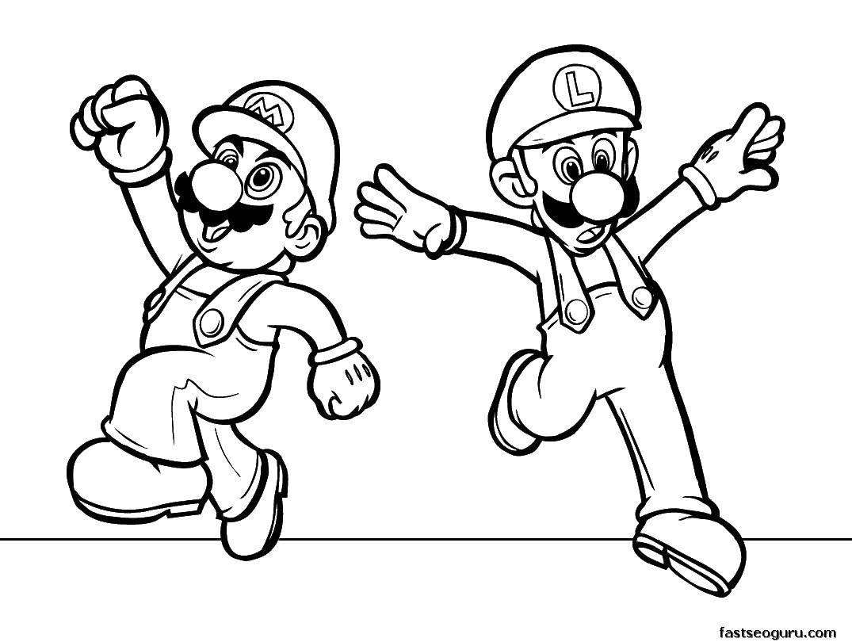 Раскраска Марио и луиджи Скачать Игры, Марио.  Распечатать ,Персонаж из игры,