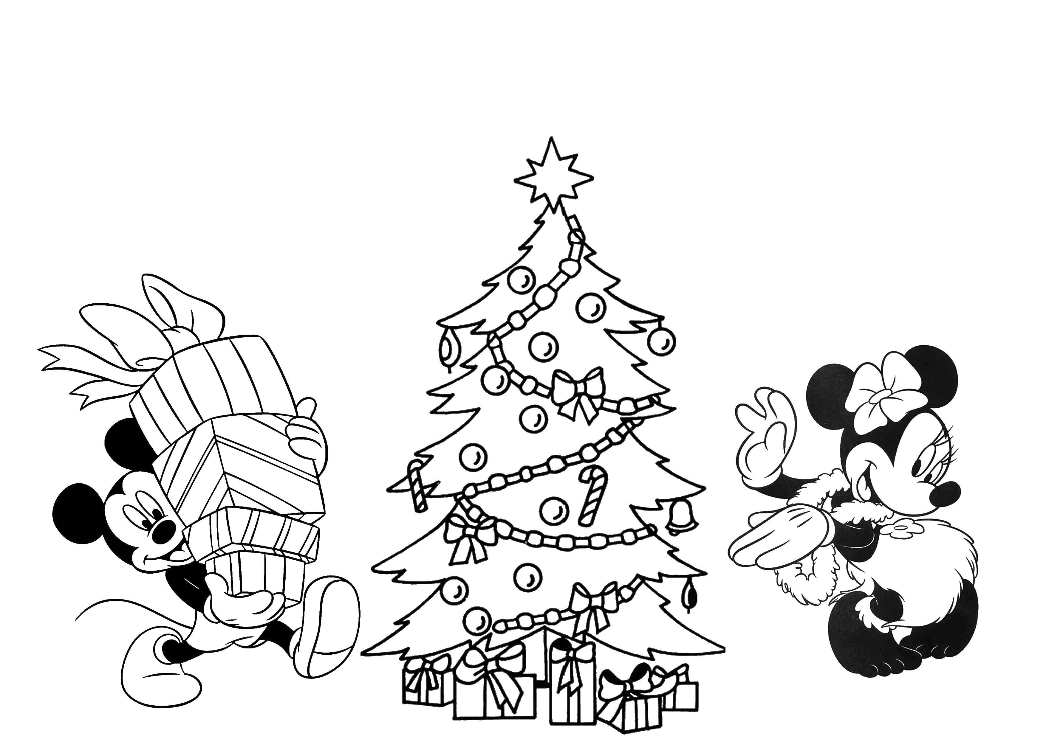 Раскраска Минни маус и микки маус на новый год Скачать Дисней, Микки Маус, Минни Маус.  Распечатать ,Диснеевские раскраски,