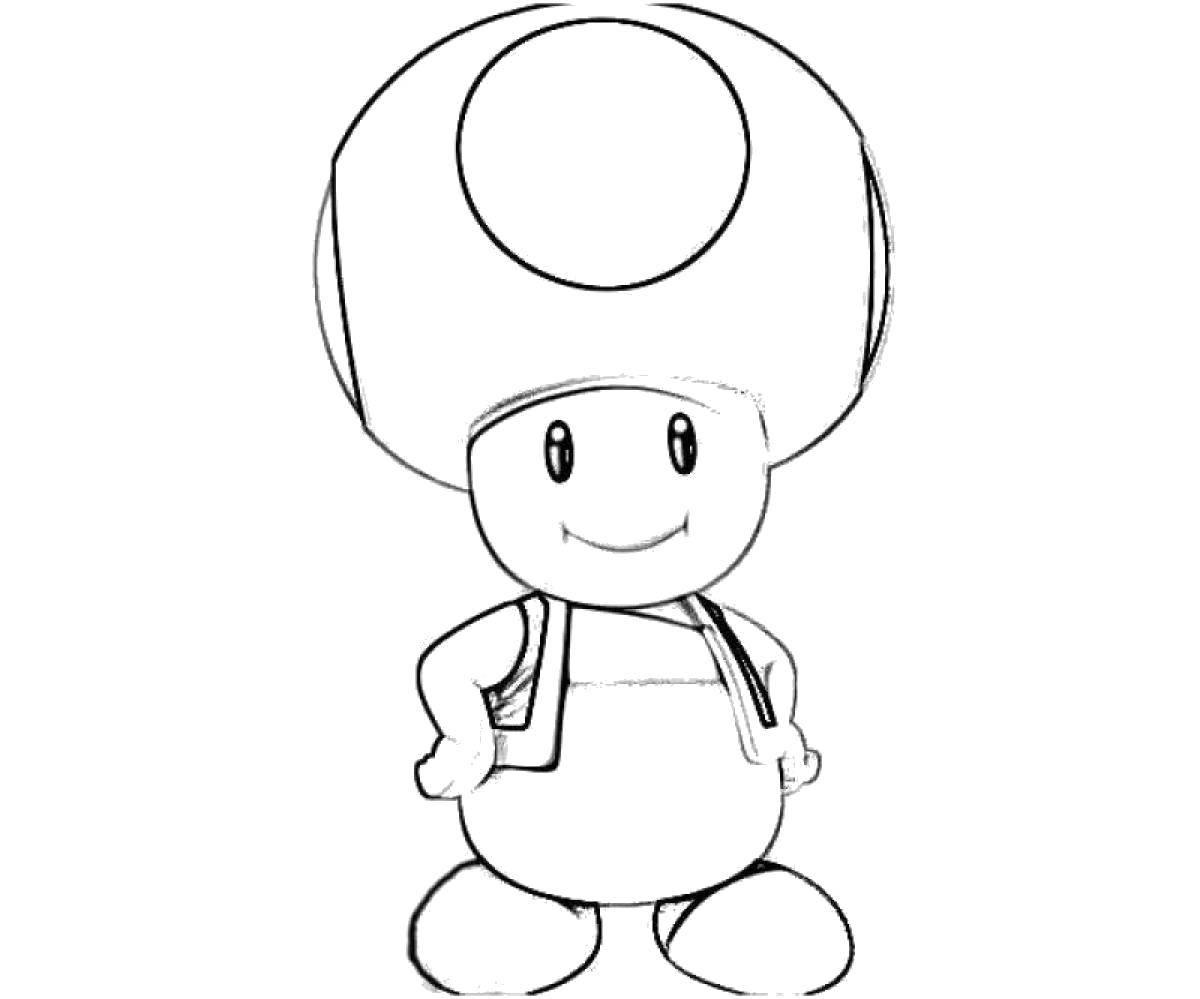 Раскраска Грибочек из марио  Скачать Игры, Марио.  Распечатать ,Персонаж из игры,