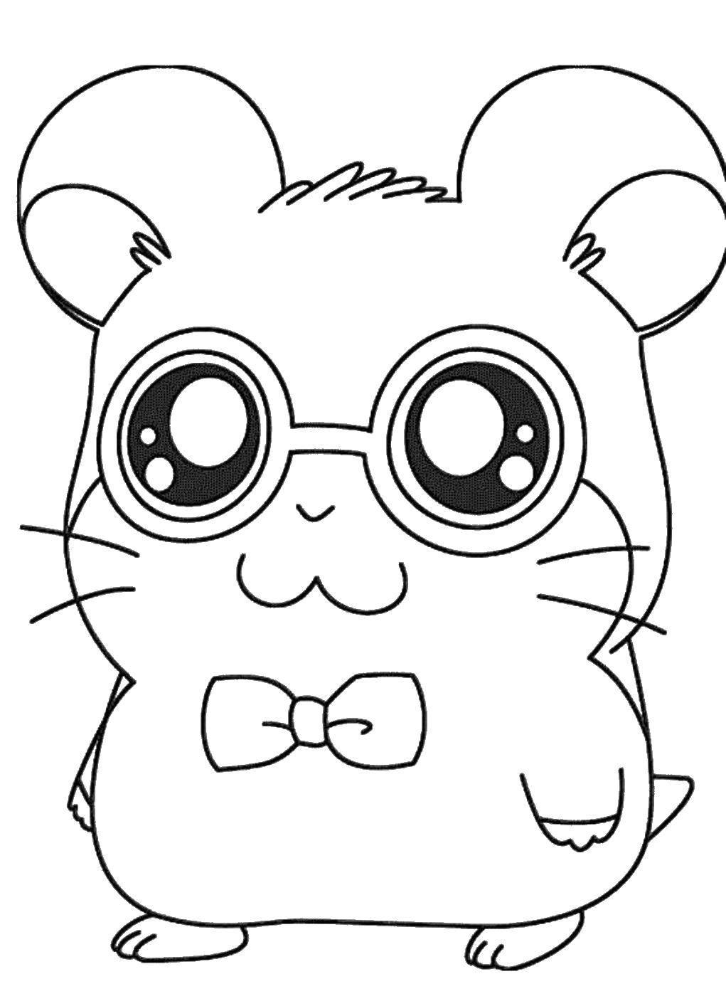 Раскраска Мышонок из аниме Скачать ,Животные, мышка,.  Распечатать