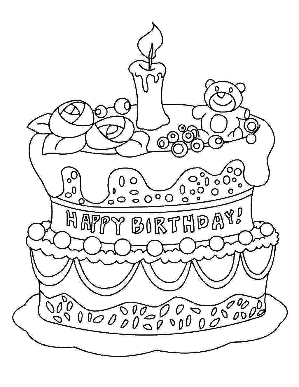 Раскраска Торт на день рождения Скачать Торт, еда, праздник.  Распечатать ,торты,