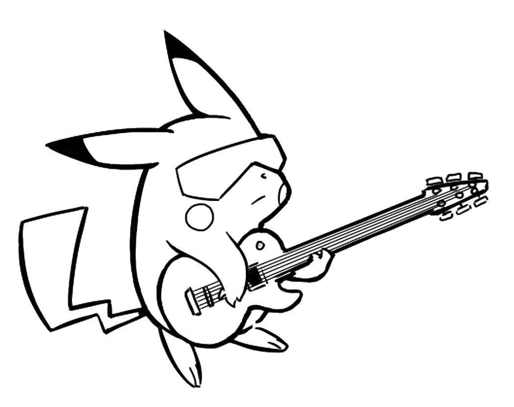 Раскраска Пикачу с гитарой Скачать Пикачу, Покемоны.  Распечатать ,Покемоны,