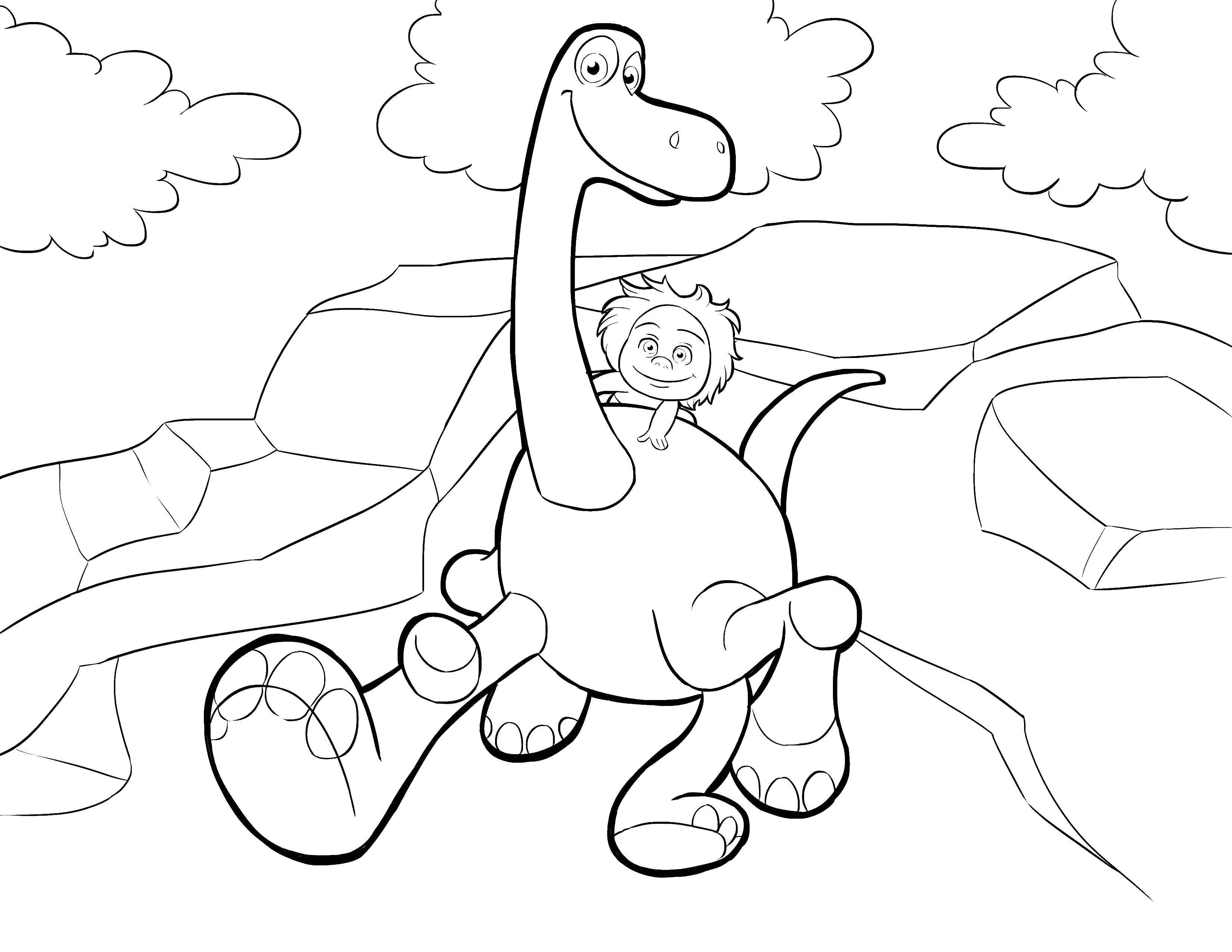 Раскраска динозавр Скачать ,Макияж,.  Распечатать