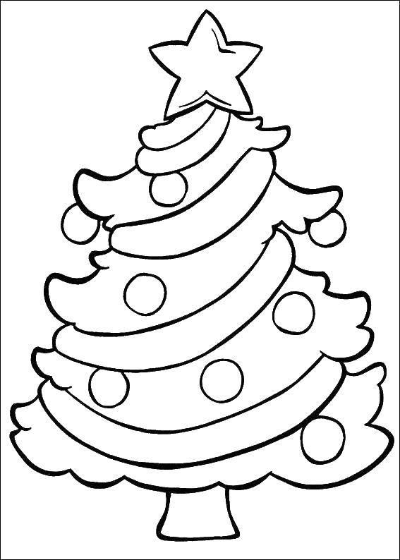 Раскраска Нарядная елка Скачать ,елка,.  Распечатать