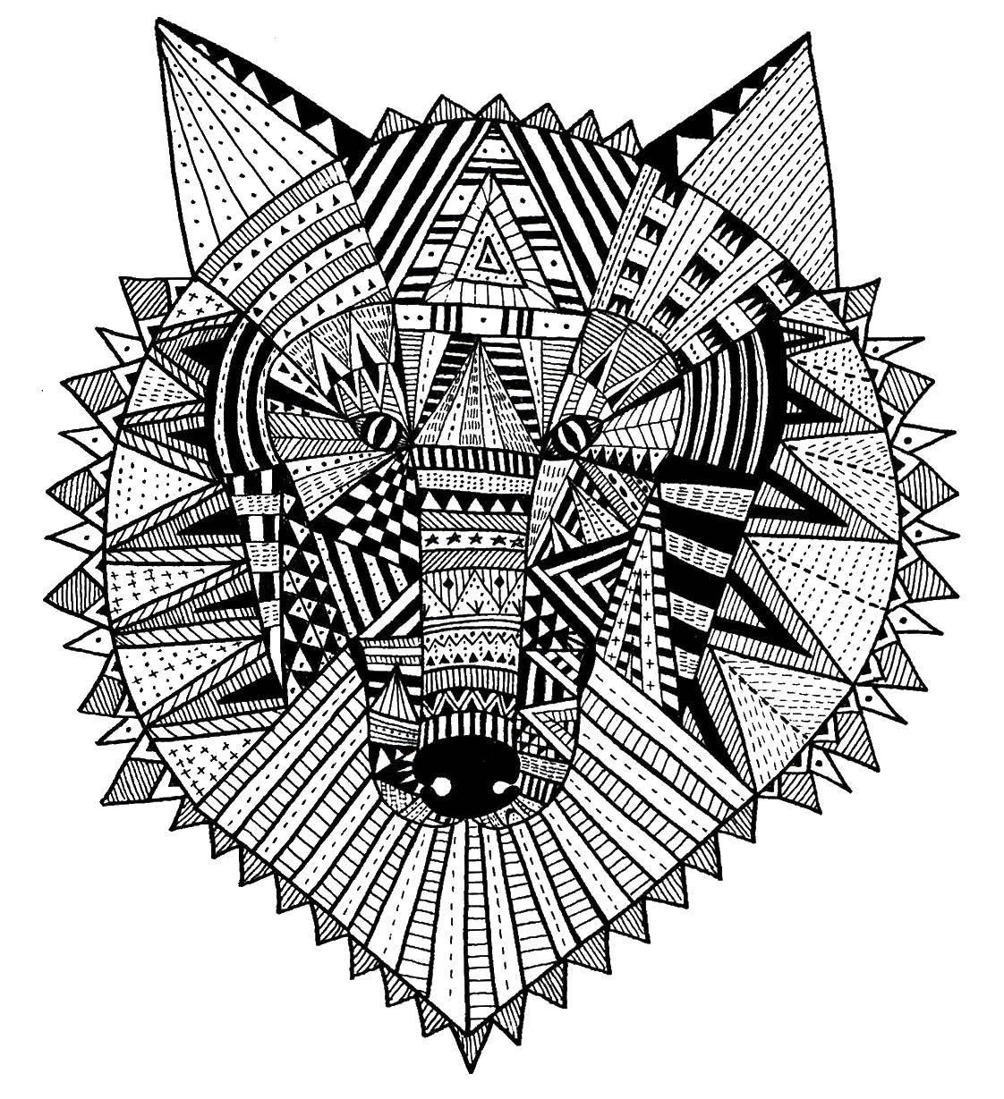 Раскраска Этнический волк Скачать Узоры, этнические.  Распечатать ,узоры,