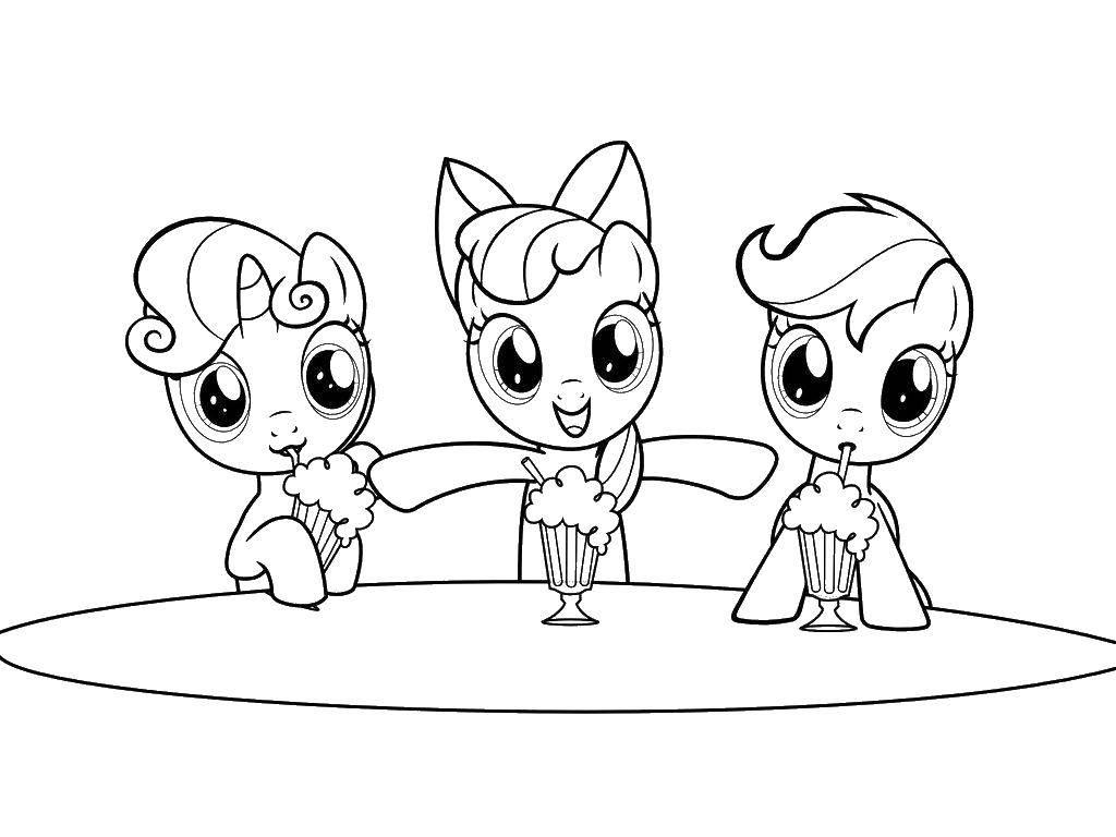 Раскраска Поняшки из my little pony  Скачать Пони, My little pony .  Распечатать ,мой маленький пони,