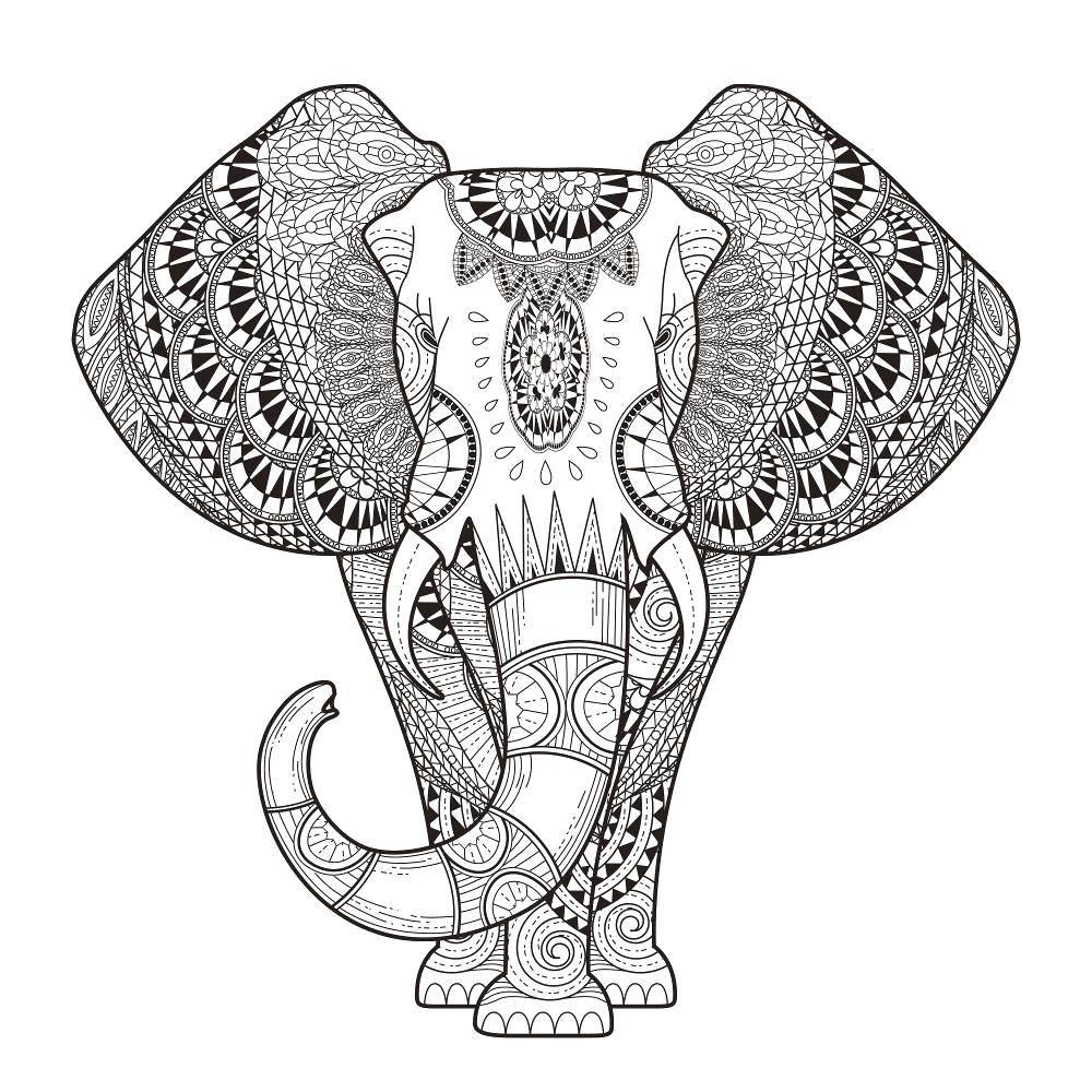Раскраска Этнический слон Скачать Узоры, этнические.  Распечатать ,узоры,