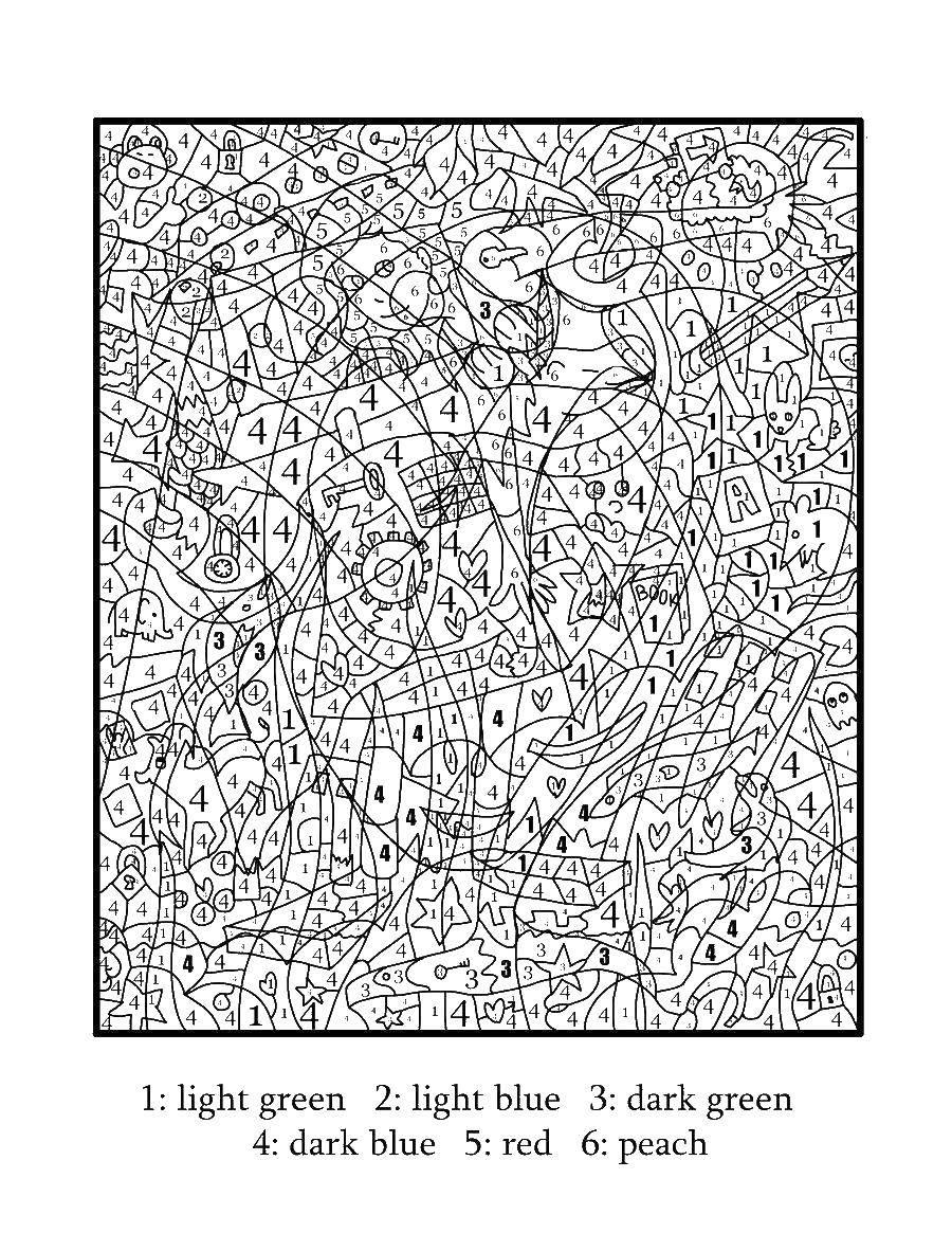 Раскраска По номерам Скачать ,домик, бабушка, огород, дерево,.  Распечатать