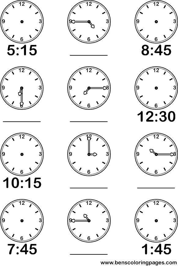 Раскраска Учимся определять время на часах Скачать Цифры, счёт, числа.  Распечатать ,Цифры,