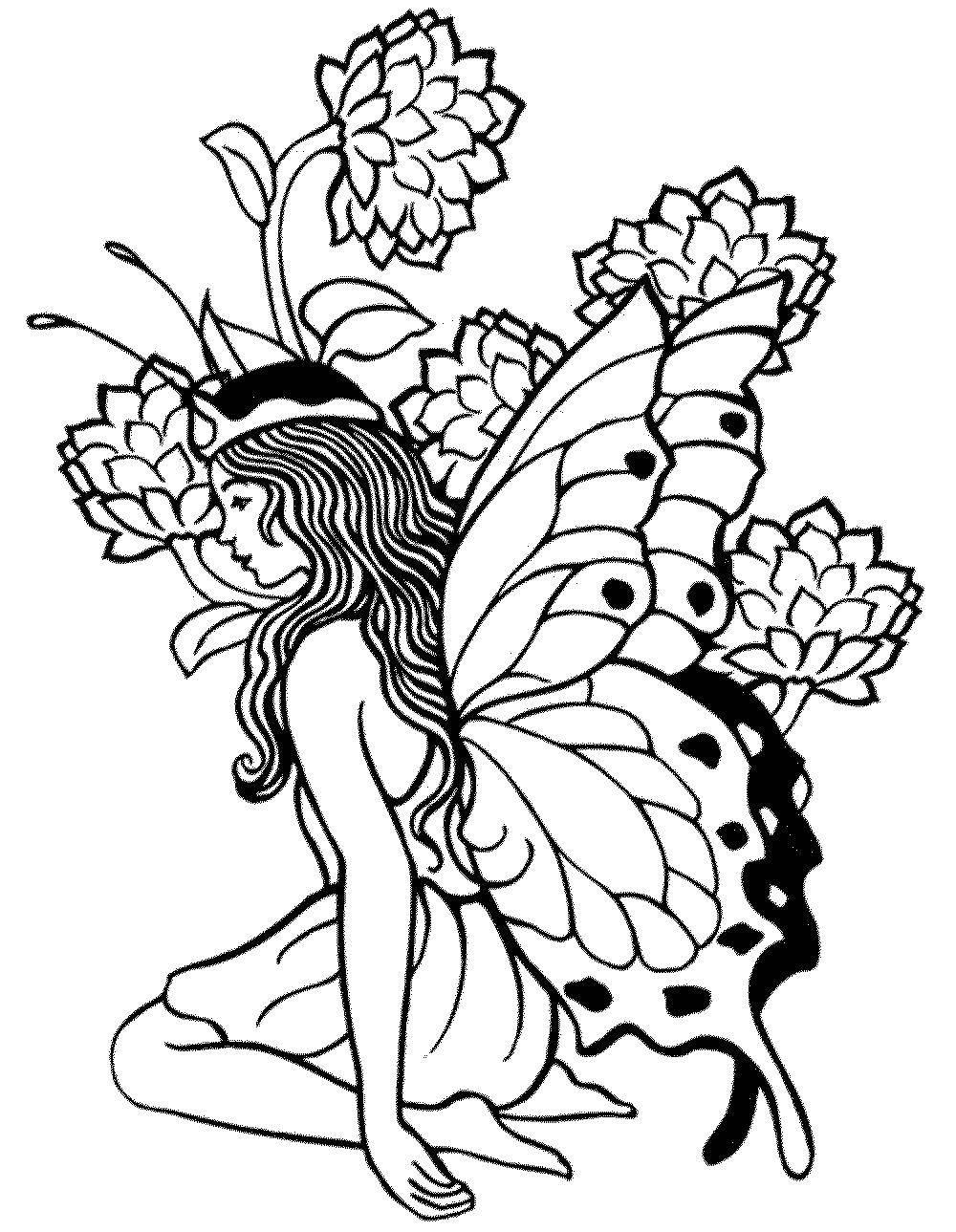 Раскраска Лесная фея Скачать Фея, лес, сказка.  Распечатать ,фея,
