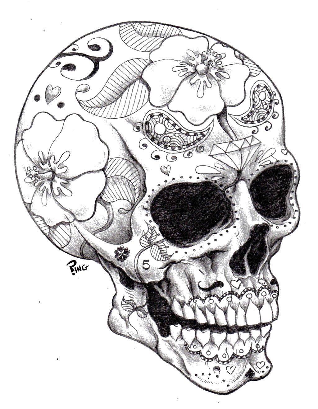 Раскраска Череп в узорах Скачать Узоры, череп.  Распечатать ,раскраски для подростков,