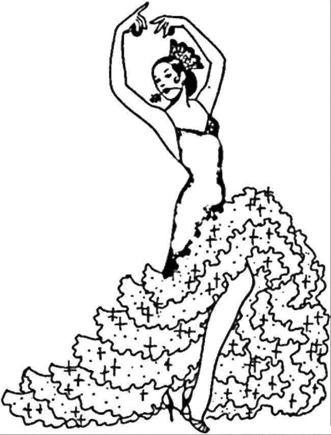 Раскраска Танцовщица с розой Скачать ,Танец,.  Распечатать