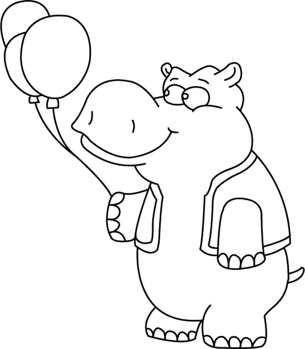 Раскраска Бегемот с шариками Скачать бегемот.  Распечатать ,Животные,