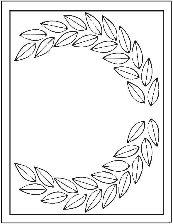 Раскраска Лиственный венок Скачать Узоры, цветок.  Распечатать ,узор,