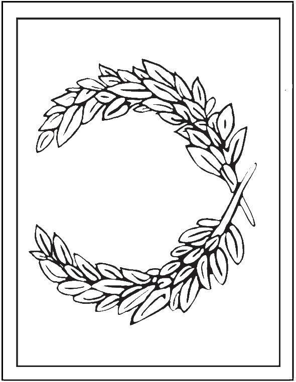 Раскраска Лиственный венок Скачать Узоры, цветок.  Распечатать ,Узоры с цветами,
