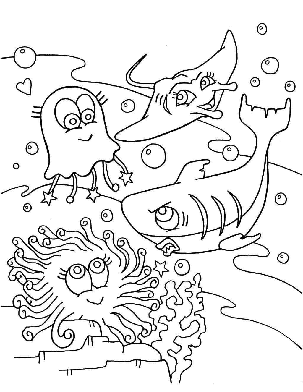 Раскраска  Скачать Подводный мир.  Распечатать ,морское,