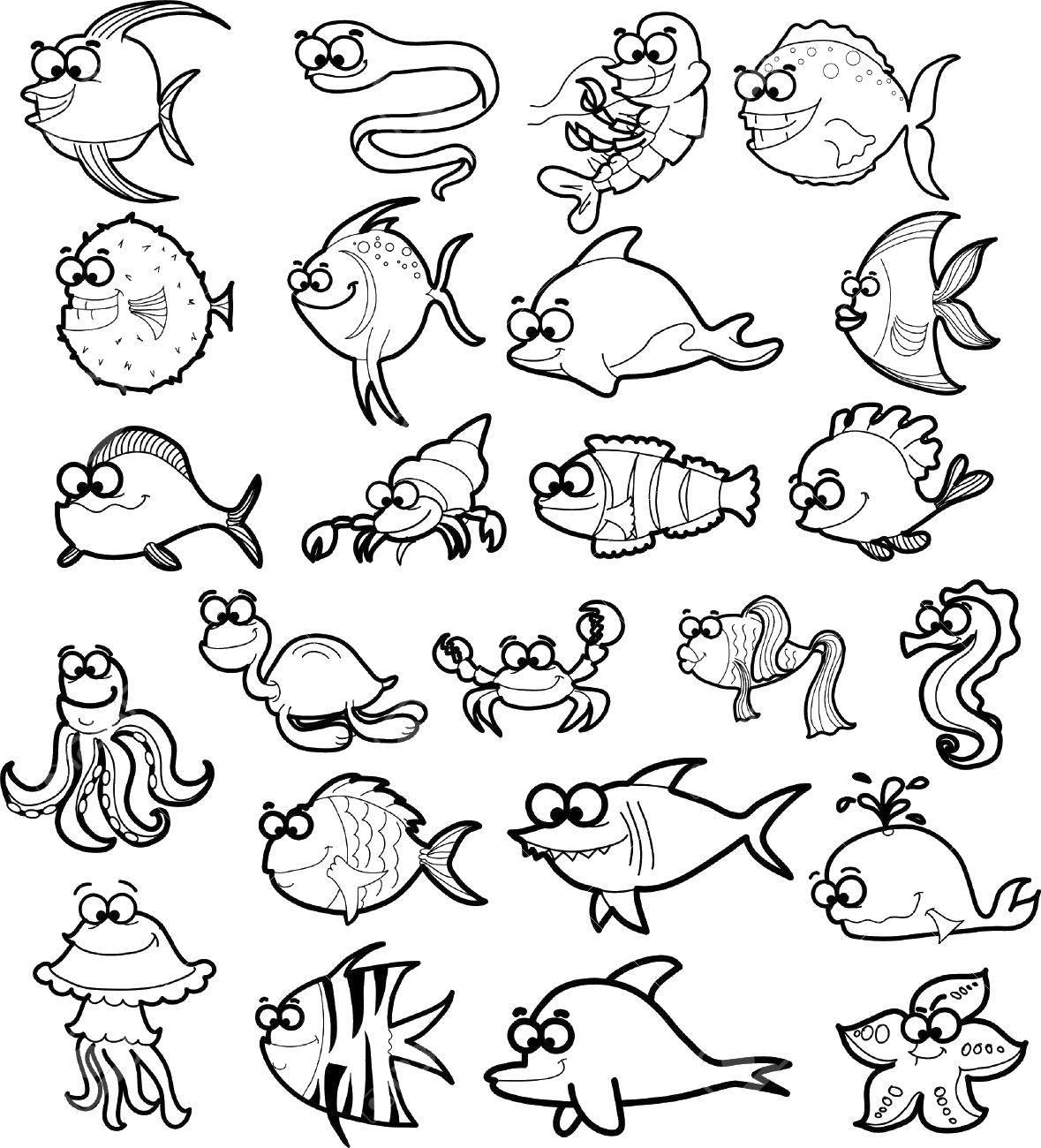Раскраска морские животные Скачать принцессы, дисней.  Распечатать ,Принцессы,