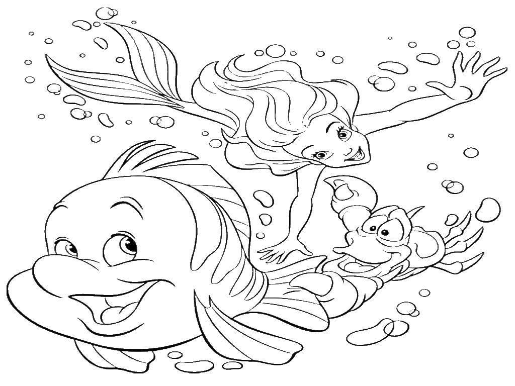 раскраски русалочка раскраска русалочка ариэль с друзьями